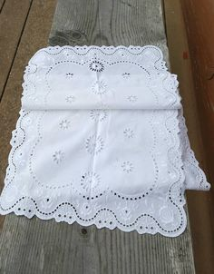 """Vintage White Cotton Dresser Scarf or Table Runner, Lace Fabric, Scalloped Edge, Cut Work, White on White Embroidery, 50.5"""" Long, 14"""" Wide by GreenLeavesBoutique on Etsy"""