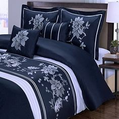 Navy Blue Floral Duvet Cover KingCal King Oversized Modern White Flowers Embroidered Pattern 100 Cotton Luxury 5 Piece Bedding and Pillows Pillowcases Shams Set -- Be sure to check out this awesome product.