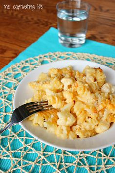 Creamy cauliflower mac and cheese with a crunchy panko breadcrumb topping