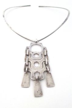 David-Andersen Norway vintage silver Scandinavian Modernist long kinetic pendant and neck ring necklace