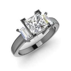 Gerika, Princess-Cut White Topaz Ring in 14K Black Gold with VS Diamond