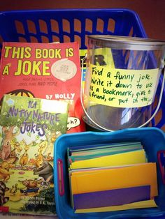 """""""New library center: joke center! Read, write and share jokes! Library Lesson Plans, Library Skills, Library Lessons, Library Books, Library Ideas, Book Care Lessons, Library Inspiration, Free Library, Library Card"""