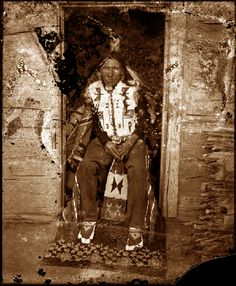 """Native American man known as """"Shields."""" He served as the pipe carrier, healer, or medicine man for the Crow Creek Reservation."""
