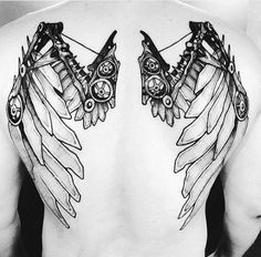 Steampunk Tattoo With Angel Wings Guys Back