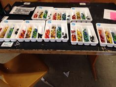 ndrummond:  Already starting to organize materials for next year. Use silverware trays to organize pastels! It keeps the colors separate, th...