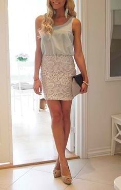 Lacey Skirt and Sleeveless Blouse
