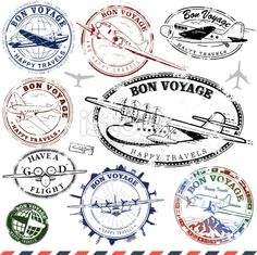 Vintage Airplane Travel Stamps Royalty Free Stock Vector Art Illustration