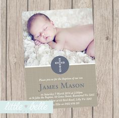 Modern Boys Photo Baptism/Christening Invitation by LittleBelleDesign on Etsy