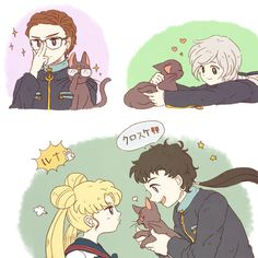 Sailor Moon / Luna hangs out with Starlights