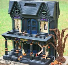 (13) Hometalk :: Simple & Spooky Halloween Crafts :: Jeanette @SnazzyLittleThings.com's clipboard on Hometalk ( haunted house made from plastic dollhouse!)