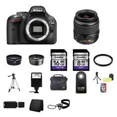 Nikon D5200 Digital SLR Camera w/18-55mm Lens 24GB Complete Kit #Nikon