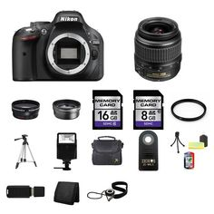 Nikon D5200 Digital SLR Camera w/18-55mm Lens 24GB Complete Kit #Nikon