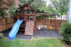 Safe Play Tiles from http://RubberFlooringInc.com  I  DIY playground  I  Backyard Ideas