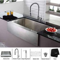 Kraus Stainless Steel Farmhouse Kitchen Sink and Chrome Pull-out Faucet and Dispenser   KitchenSource.com
