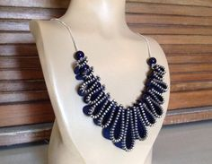 Zipper Necklace, Tear Drop and Beads
