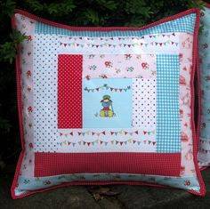 """""""The Simple Life"""" Red, pink and blue log cabin cushion cover by Antique Rose Designs, via Flickr"""