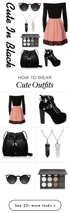 """Black Cute Outfit"" by styledimity on Polyvore featuring Jeffrey Campbell, Kate Spade, Bling Jewelry and Shany"