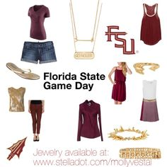 """Florida State Game Day Outfits"" by mollyvestal on Polyvore www.stelladot.com/mollyvestal"