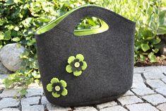 Zauberhaft-handgemacht, Filztasche Anthrazit-Apfelgrün, Blumen, Nähen, Einkaufstasche, SU