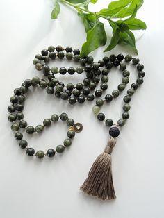 Moss Agate Mala Beads | 108 Beads