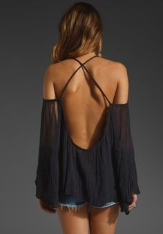 cute flowy shirts | blouse off the shoulder open back flowy cute crossed back sheer shirt ...