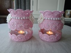 xxx Crochet Kitchen, Crochet Home, Crochet Gifts, Handmade Crafts, Diy And Crafts, Crochet Jar Covers, Sweet Home Design, Crochet Decoration, Mason Jar Crafts