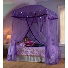 For modern girls room one of stylish canopy bed from purple fabric color, Stylish purple canopy bed for girls room, girls canopy bed, canopy bed designs, girls canopies Fairy Bedroom, Dream Bedroom, Bedroom Decor, Bedroom Ideas, Canopy Bedroom, Theme Bedrooms, Canopy Curtains, Door Canopy, Kid Bedrooms
