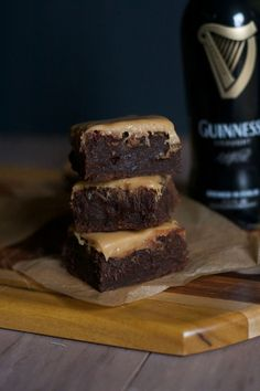 Fudgy Guiniess Brownies with Whiskey Caramel Glaze