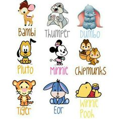 Baby disney characters - Tigger is spelt wrong whoever made this spelt tiger and its eeyore not eor and its winne THE pooh and the chipmunks are chip and dale Disney Pixar, Baby Disney Characters, Art Disney, Disney Kunst, Disney And Dreamworks, Disney Cartoons, Disney Love, Disney Magic, Punk Disney