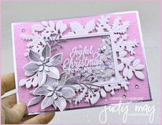 Stampin' Up! Merriest Moments Bundle Shaker Christmas Card | Judy May, Just Judy Designs Stampin Up Christmas, Christmas Cards To Make, Christmas Sale, Christmas Trimmings, Poinsettia Flower, Shaker Cards, Little Star, Stampin Up Cards, Winter