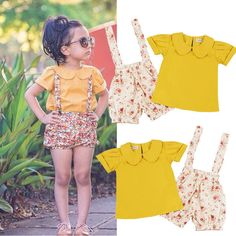 Summer Toddler Girl Baby Kids Tops T-Shirt Flower Short Pants Clothes Set Outfit #Unbranded #EverydayDressyHoliday