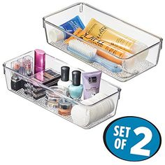 """mDesign Cosmetic Organizer Deep Trays for Vanity Cabinet to Hold Makeup, Beauty Products - Set of 2, Clear. Set of 2 cosmetic organizer trays for vanity countertops, cabinets or drawers. Deep trays great for storing longer items like brushes or lotion bottles. Organize cosmetic brushes, lipstick, lip gloss, eyeliner, mascara, nail polish and more. Made of durable plastic. Large tray: 6"""" x 12"""" x 3""""; Small tray: 5"""" x 12"""" x 3""""."""