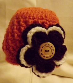 Crocheted Flower Baby Beanie w/ Button by MamaTCrafts on Etsy, $15.00