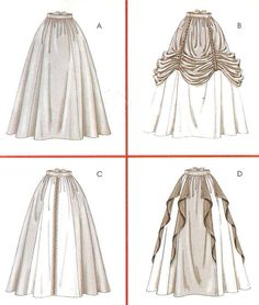 Renaissance historical costume skirts - McCalls sewing pattern - Size 14-20