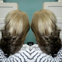 Reverse ombre blonde brown black haircolor two tone