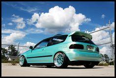 Ek hatch teal Ek Hatch, Truck Rims, Ultimate Garage, Girls Driving, Street Racing Cars, Jdm, Race Cars, Honda, Teal