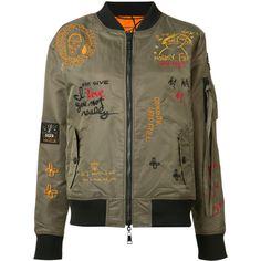 Haculla reversible embroidered bomber jacket (1.965 BRL) ❤ liked on Polyvore featuring outerwear, jackets, green, nylon jacket, flight jacket, multi coloured jacket, reversible bomber jacket and bomber style jacket
