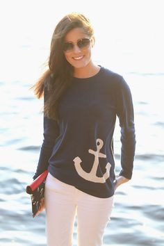 Casual Round Collar Anchor Print Long Sleeve Pullover Sweatshirt For Women Preppy Mode, Preppy Style, Style Me, Nautical Outfits, Nautical Fashion, Nautical Style, Nautical Baby, Coastal Style, Anchor Sweater