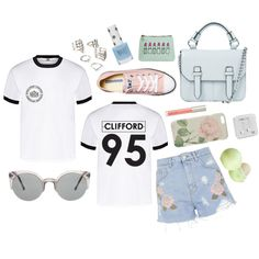 Clifford Shirt by sam-isabella on Polyvore featuring Topshop, Converse, Forever 21, Happy Plugs, Ted Baker, Ilia and Eos