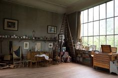 Cezanne's studio. I'd eventually like something like this...only with a rug because I spend a lot of time sitting on the floor when I work on art.