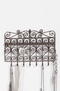 My bathroom. -- Scrollwork Gate Jewelry Stand Online Only Urban Exclusive Jewelry Hanger, Hanging Jewelry, Jewelry Stand, Jewelry Shop, Jewelry Design, Nice Jewelry, Jewelry Tree, Jewellery Storage, Jewellery Display