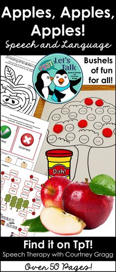 A speech therapy apple theme! Language and articulation pages. Great for fall therapy!