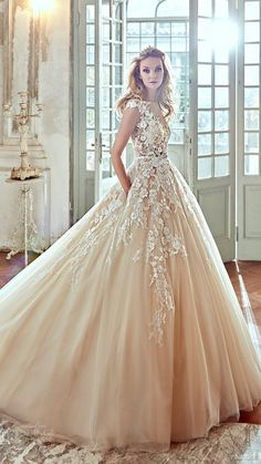 nicole spose bridal 2017 cap sleeve illusion jewel sweetheart ball gown wedding dress (niab17092) mv color