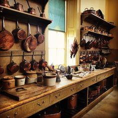"Sarah Berwick's Instagram photo: ""Dream kitchen #culzeancastle #scotland #castle #copperpots #dreamkitchen"" Copper Pots, Copper Kitchen, Kitchen Inspiration, Kitchen Ideas, 1920s Kitchen, Photo Dream, Miniature Kitchen, Manor Houses, Georgian"