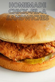 Homemade Chick-Fil-A Sandwiches Recipe - - A spot-on replica of Chick-Fil-A's famous fried chicken breast sandwich. Crispy Chicken Burgers, Spicy Chicken Sandwiches, Chicken Sandwich Recipes, Fried Chicken Sandwich, Chicken Patties, Vegan Sandwiches, Brining Chicken, Chik Fil A Chicken, Chick Fil A Spicy Chicken Recipe