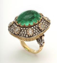 Crazy town. BUCCELLATI Emerald & Diamond Ring | From a unique collection of vintage cocktail rings at https://www.1stdibs.com/jewelry/rings/cocktail-rings/