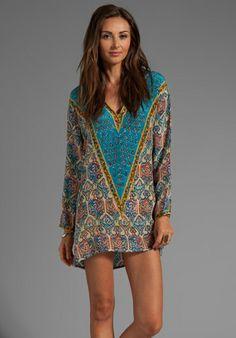 TOLANI EXCLUSIVE Katrina Dress in Blue/Pink/Cobalt - Long Sleeve