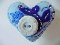Blue Felt Heart Brooch / Vintage Button Brooch by heartfeltwhimsy, $11.00