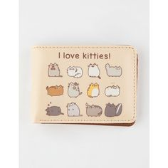 Pusheen I Love Kitties Wallet (345 UAH) ❤ liked on Polyvore featuring bags, wallets, pink bag, cat print bag, card slot wallet, pusheen and cat bag