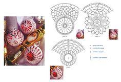 Tina's handicraft : 11 designs & charts for christmas ornament Crochet Christmas Ornaments, Christmas Baubles, Christmas Crafts, Christmas Decorations, Crochet Leaf Patterns, Crochet Motif, Crochet Doilies, Crochet Ball, Thread Crochet